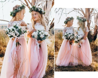Belle flower girl separates, flower girl dress, toddler dress, lace flower girl, boho flower girl, flower girl long tulle skirt | Waterfall