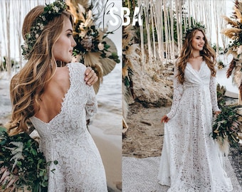 Lace beach boho wedding dress, simple rustic lace bridal dress long sleeves, minimalist lace boho dress open back | Alyssa