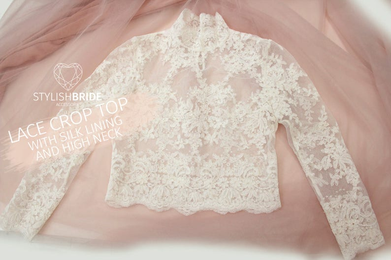 a91f06e6facb39 Belle High Neck Lace Crop Top Long Sleeves White Lace Crop Top