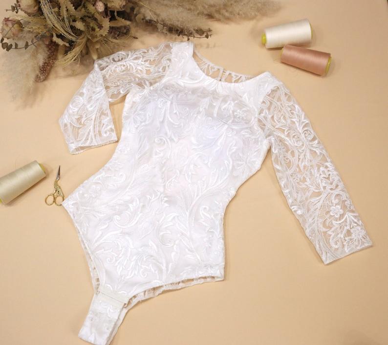 ready to ship #1714 Open Buttoned Back Boho Bodysuit Lace Backless Bridal Bodysuit In stock Size XS: Alice Lux Lace Bodysuit
