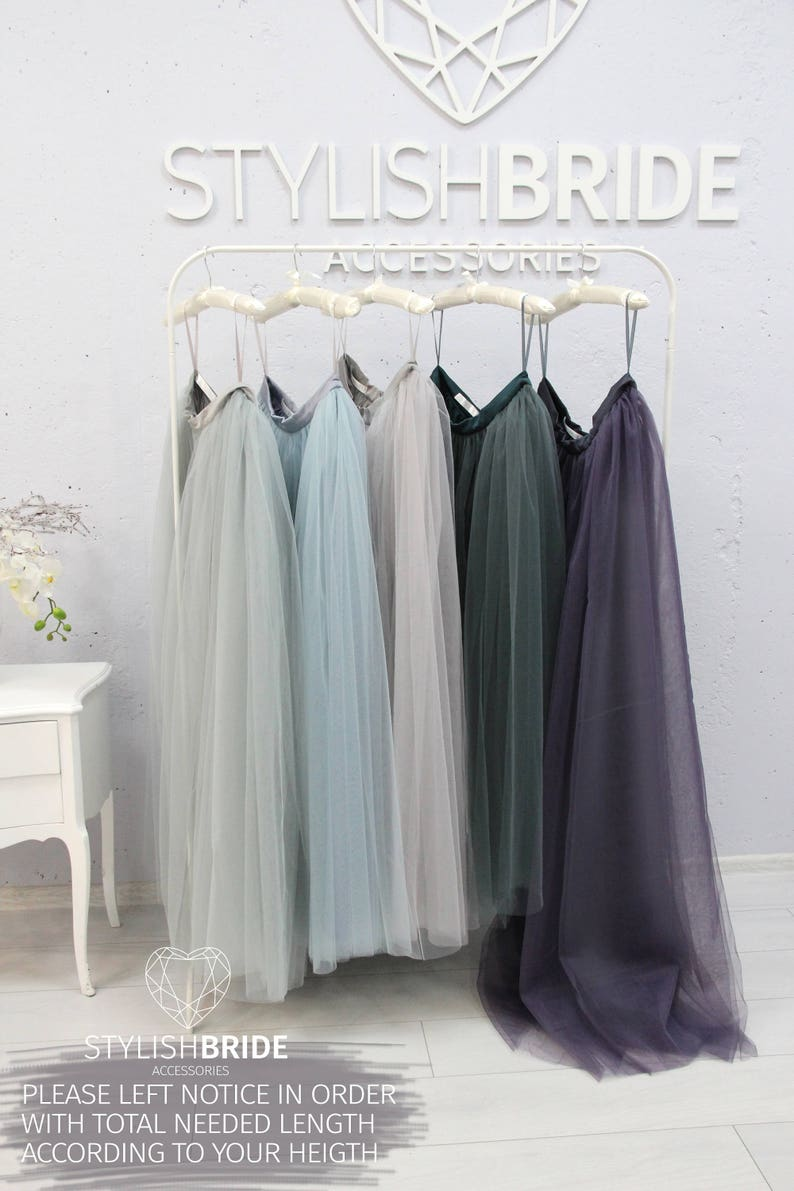 618d92979e Waterfall Rustic Grey Blue Green Palette Long Tulle Skirt | Etsy