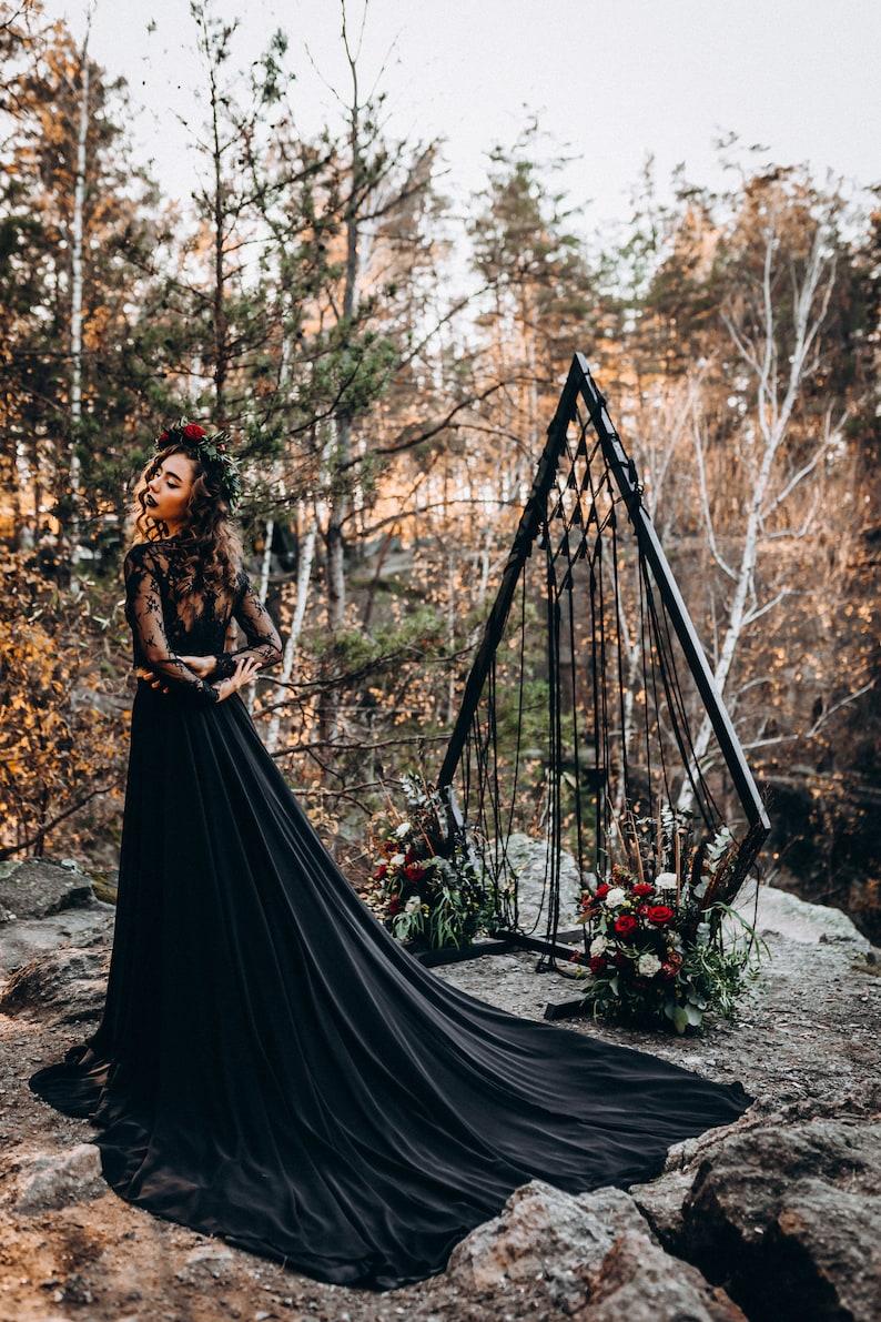 NEW Black Chiffon Bridal Gown Wedding Black Dress Train image 7
