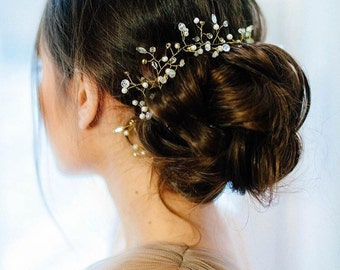 Wedding Gold Crystal Hair Vine, Gloss Bridal Hair Vine, Crystal Hair Accessories, Bridal Crystal Vine, Bridal Hairpiece, Bridal Hair Vine