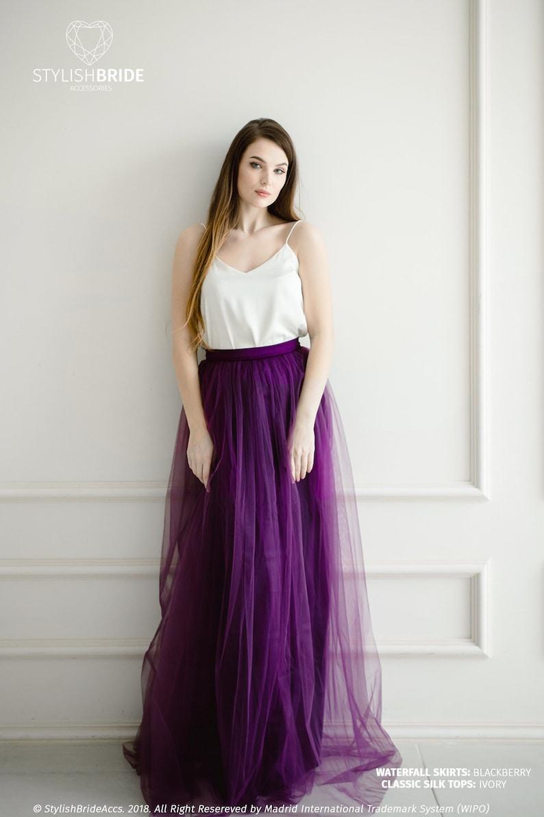 7eaf604df1 Blackberry Bridesmaids Dress Silk Classic Tulle Skirt Purple   Etsy
