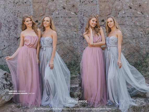Dream Dress /& Overskirt in Light Grey Engagement Simple Tulle Dress Sweetheart Strapless Tulle Maxi Dress Simple tulle bridesmaid dresses