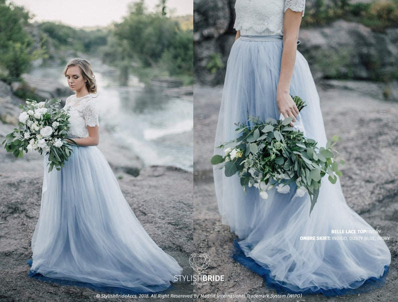2523e88073b Dusty Blue Indigo Ombre Wedding Tulle Skirt Ombre Blue Etsy
