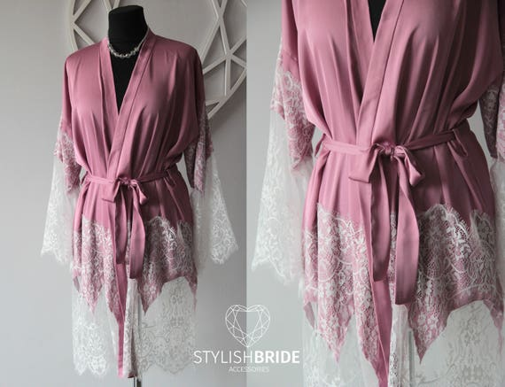 Pink Gardenia Bridal Silk Robe with Lace Gorgeous Silk and  177cea243