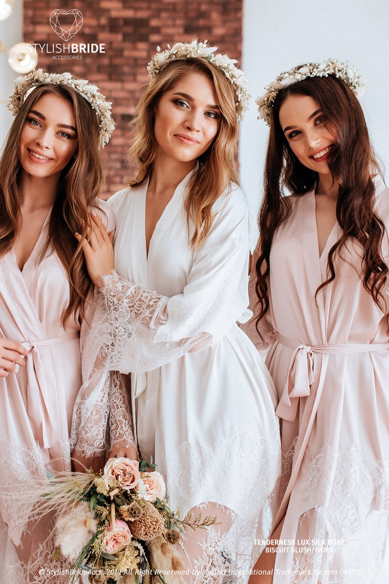 e1ab642391a7 Tenderness Biscuit Blush Lux Bridal Robe Silk Light Blush | Etsy