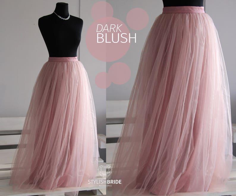 6ae20c5617ca Dark Blush Long Tulle Skirt Casual Floor length Women's | Etsy