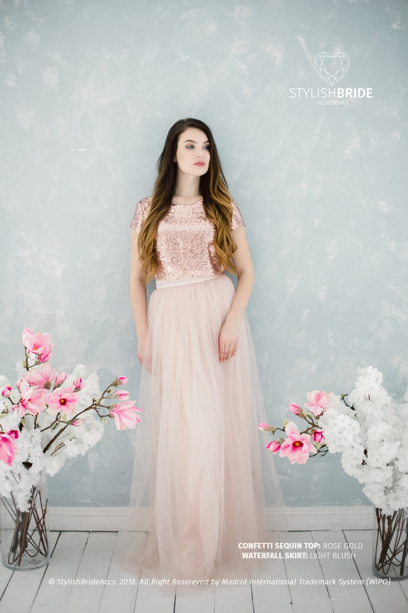 Rose Gold Sequin Tulle Bridesmaid Dress with Light Blush 7 | Etsy