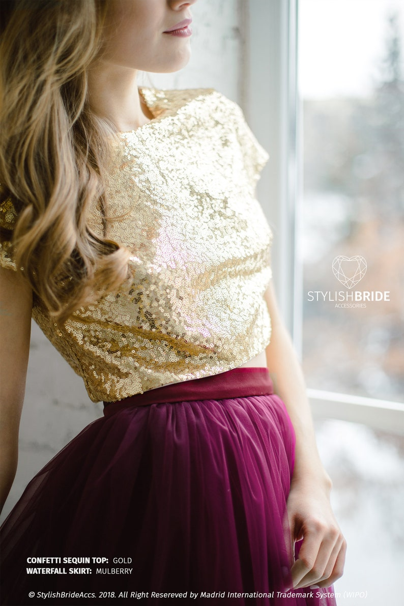 6b0ea96f7d Gold Sequin top in 10 colors Prom gold party crop top New