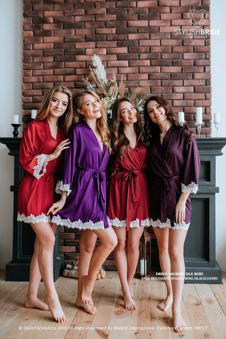 In stock Size XS-S Dark Red Ember Silk Bridesmaid Robe Dark Red Silk Robe \u2013 ready to ship #1362