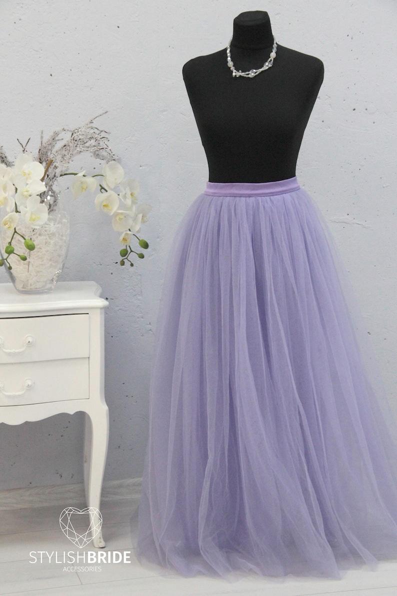 Wedding Long Tulle Skirt Tulle Skirt Lavender Bridesmaids Women Tulle Skirt Lavender Long Waterfall Tulle Skirt Casual Floor length Women
