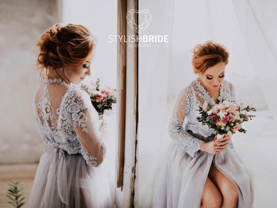 Chantilly Bridal Robe Luxury Transparent Lace Dress Wedding Etsy