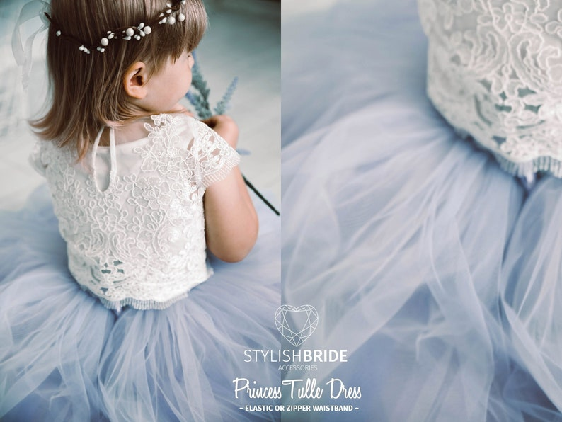 3b4a4736afd Dusty Blue   Indigo Ombre Flower Girl Dress Tulle Lace Dress