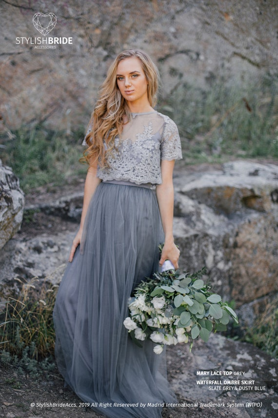 wide varieties latest releases search for clearance Ombre Slate Grey&Dusty Blue Mary Dress, Long Grey Waterfall Bridesmaids or  Engagement Skirt, Prom Lace Dresses Plus Size Dark Grey