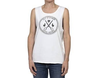 Woman tank top / / ivory / / organic cotton / / water based screen printing / / the urban model