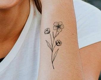 floral temporary tattoo / fake tattoo / Vintage Hipster Tattoo / girly floral tattoo / hipster girl temporary tattoo / arm tattoo girlfriend