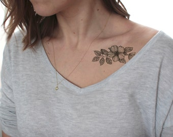 cherry blossoms temporary tattoo / fake tattoo / Vintage Hipster Tattoo / girly floral tattoo / hipster girl temporary tattoo by temp tat