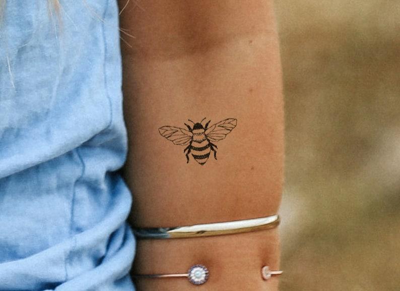e4c0d5024e60b Bee tattoo / bumblebee tattoo / moth finger tattoo / black and | Etsy