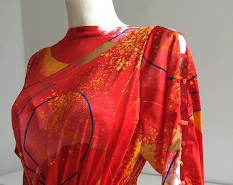 Fire orange space fabric dress