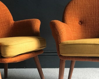Retro Vintage Mid-century Toothill Cocktail Chairs in burnt orange and yellow & Retro chairs | Etsy
