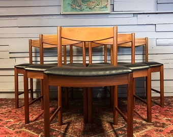 McIntosh Teak Dining Chairs With Black Vinyl Seats U2022 Vintage U2022 Retro U2022  Mid Century U2022 Teak U2022 60s U2022 70s