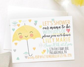 Baby Shower Umbrella Party, Printable Invitation, Gender Neutral Invitation