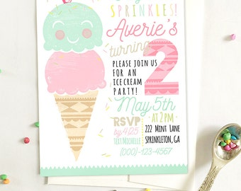 Ice Cream Invitation, Custom Printable