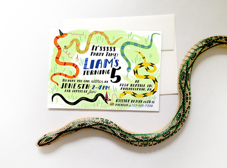 Snake Birthday Party Invitation Printable DIY