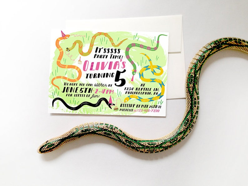 Snake Birthday Invitation Printable