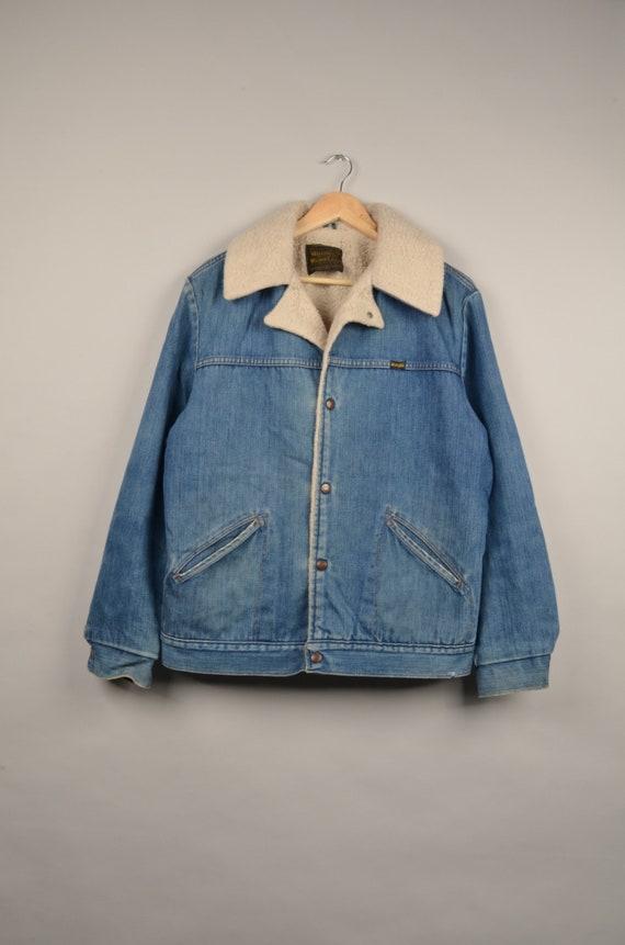 vintage wrangler sherpa denim jacket, vintage 80s