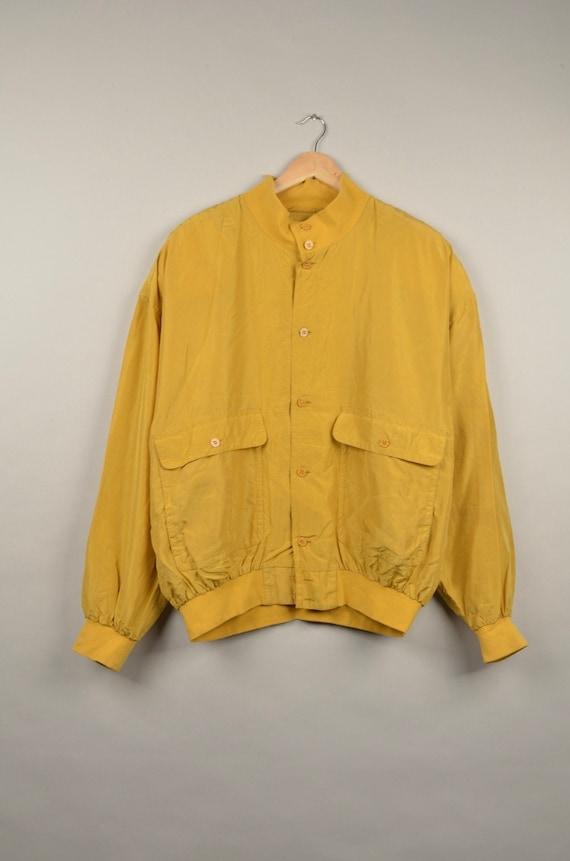 vintage mosterd silk bomber jacket, bomber jacket,
