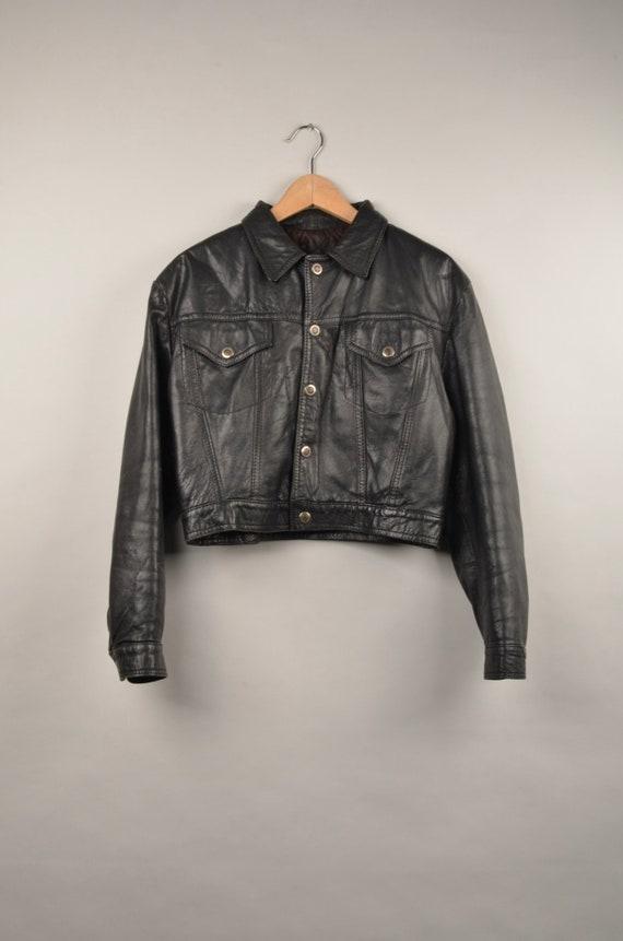 vintage 80s 90s cropped black jacket,vintage biker
