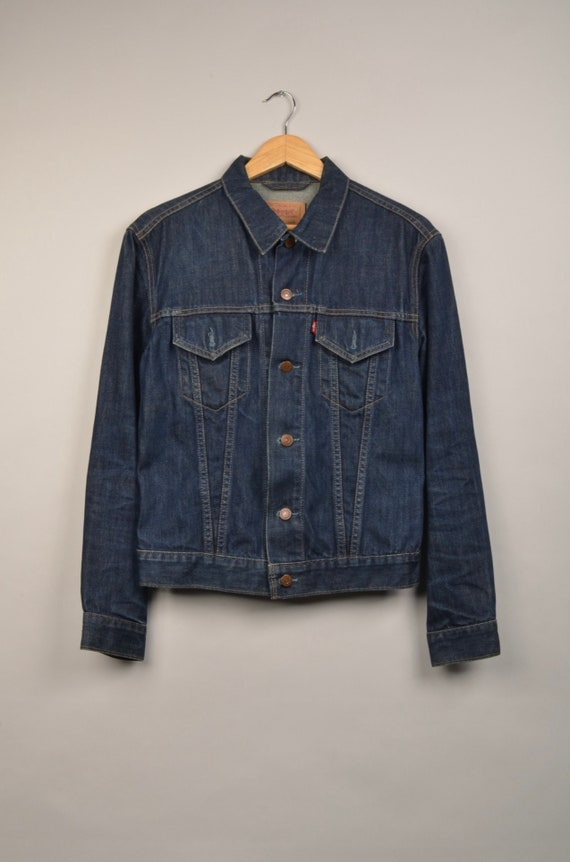vintage levis denim jacket, dark blue levis jacket