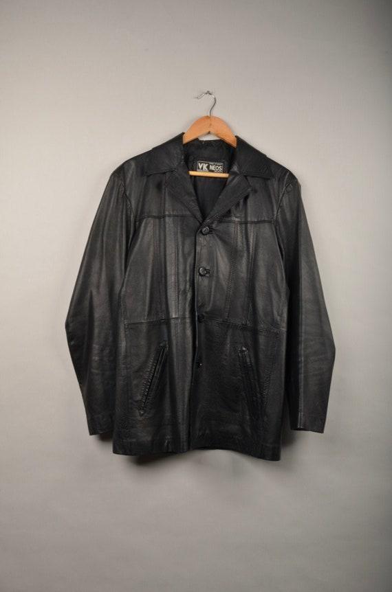 vintage 70s black blazer,vtg 70s jacket,leather ja