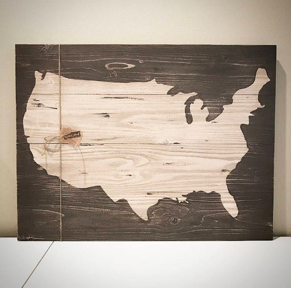 Wood United States Map.Custom Wood Usa Map Personalized Brown 22x30 Wooden Map Sign Etsy