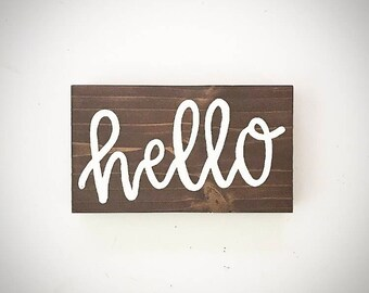 Custom Wood Desktop Sign - 3.5x6 Wood Hello Sign - Custom Wood Hello Sign - Wooden Hello Plank - Handlettered Hello Sign - Custom Hello Sign