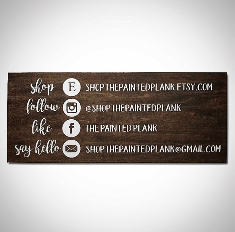 2d78bcf2f8ff5 Custom Wood Small Business Logo Sign - 9.5x9.5 Support Local Sign -  Customizable Social Media Sign - Instagram Facebook Etsy Contact Info