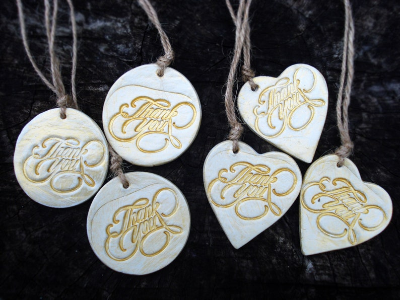 Rustic round gift tag Custom wedding guests favor tag Gold heart vintage gift wrapping Thank you gift tag Thank You Ornaments