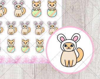 C020 - Cookie Easter Cat Stickers
