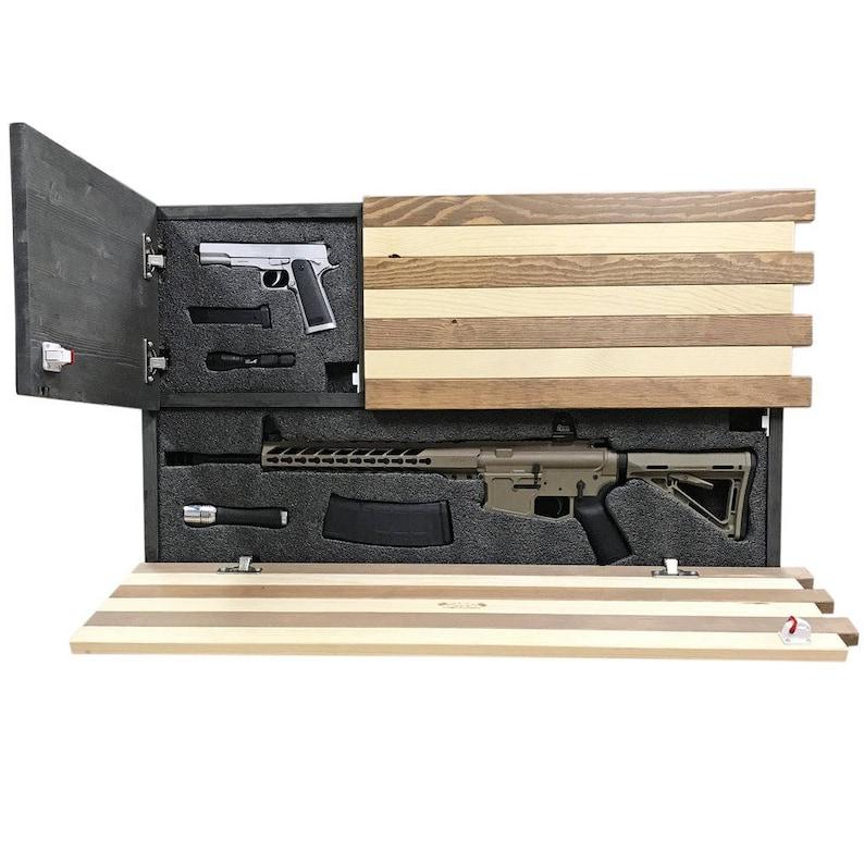 8bd3e0e0d58 Gun Concealment Cabinet Rustic American Flag LOCKING DOORS