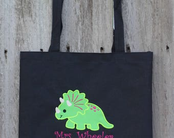 Teacher Tote Bag, Tote Bag, Dino Tote Bag, Teacher Appreciation Gift, Appliqué Tote Bag, Custom Tote, Embroidered Tote, Teacher Gift, Totes
