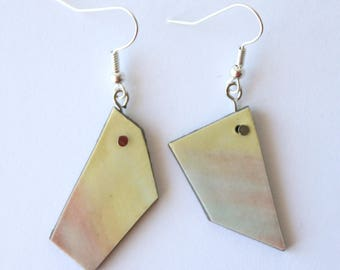asymmetrical geometric pastel blue pink and yellow hook earrings