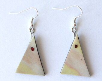 triangle geometric pastel pink and yellow hook earrings