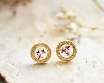 Real Pressed Flowers and Resin Stud Earrings, Gold and Crystals with Purple Flowers