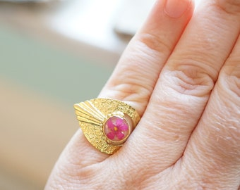 Real Pressed Flower and Resin Ring, Gold and Pink