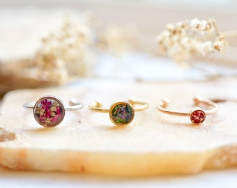 Real Pressed Flower and Resin Ring, Customizable Bands