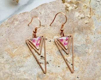 Real Pressed Flowers Earrings, Rose Gold Triangle Drops in Pink