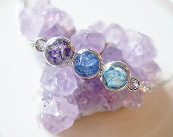 Real Pressed Flowers and Resin, Bar Necklace in Purple, Cornflower Blue, and Light Blue Ombre